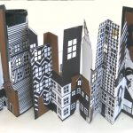 Intricately cut city scape images with pop-out areas